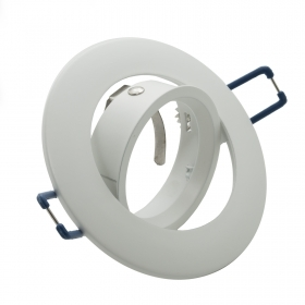 Portafaretto round frame, recessed swivel white GU10 GU5.3 MR16 hole 75mm