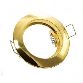 Portafaretto round frame, recessed, spring-loaded gold color GU10 GU5.3 MR16 hole 60mm