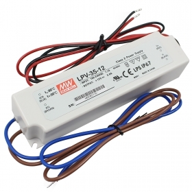 Power supply 35W for LED lamps Mean Well LPV-35-12 12V transformer 3A IP67