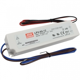 Transformer Mean Well LPV-60-12 power supply 60W 12V 5A LED strips IP67 220V
