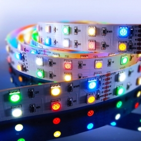 Strip LED SMD 5050 multicolor 69W amber light RGB WW CW 12Vdc 3 metres IP20