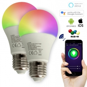 KIT 2 bulbs LED SMART WiFi 12W RGBW multicolour + warm light 2700K E27 socket does not require HUB compatible Alexa IFTTT Google Android smartphone iOS