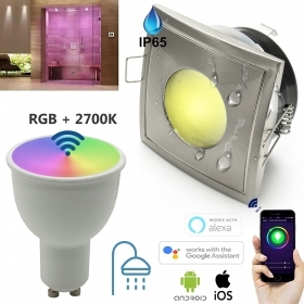 Spotlight square LED IP65 SMART WiFi 5W GU10 RGBW RGB+2700K dimmable chromotherapy, Turkish bath, shower, voice control Amazon Alexa Google Home IFTTT APP for smartphone Android iOS