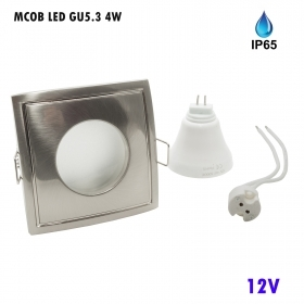 Spotlight LED recessed square 4W 12V MR16 GU5.3 6000K showers Turkish IP65