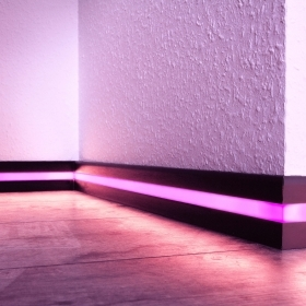 Aluminium profile light skirting-board support led strips wiring duct height 58mm length 3 meters