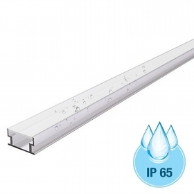 Linear profile 20mm aluminium slim U-FLAT IP65 for LED strips recessed floor-to-wall bathroom shower