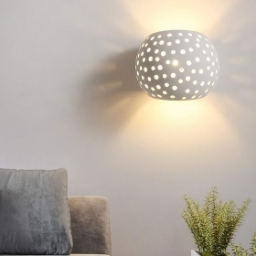 Sconce plaster lamp modern perforated light wall double emission 7W G9