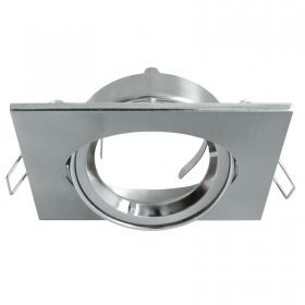 Port spotlight square adjustable silver recessed ceiling lights LED GU10 80mm