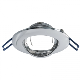 Door spotlight round recessed silver chrome adjustable support LED GU10 75mm