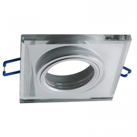 Port spotlight square recessed ceiling 60mm mirrored glass LED lamps GU10