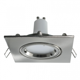 Downlight adjustable square silver recessed ceiling 8cm 5W LED GU10 spot light