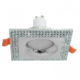 Downlight square silver glitter recessed ceiling lamp 5W LED GU10 65mm