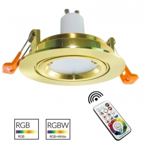 Spotlight ronda de oro de la colección de 80 mm lámpara LED GU10 RGB LED multicolor luz