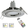 Spotlight recessed round silver 8cm LED lamp GU10 RGB light color therapy interior