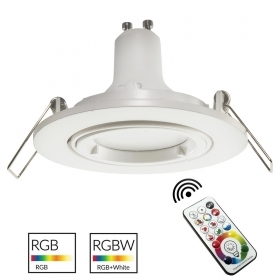 White spotlight recessed round 8cm LED light GU10 RGB colour therapy beauty centre
