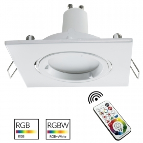 Led downlight led cuadrado empotrar blanco 80 mm lámpara LED GU10 RGB efectos de luz de colores
