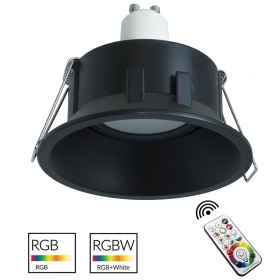 Spotlight round black recessed 85mm light colorful RGB 6000K GU10 bulb colorful