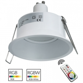 Spotlight round modern white built-85mm bulb colorful RGB LED RGBW GU10