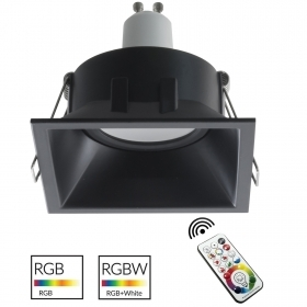 Spotlight adjustable recessed 8cm black square RGB LED GU10 colored light bar pub