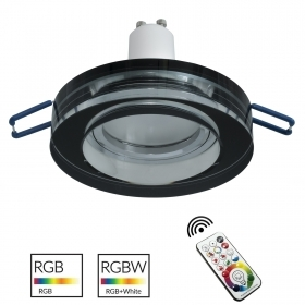 Spotlight modern glass, mirrored, recessed, 60mm black light colorful LED RGB GU10