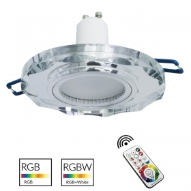 Spotlight multicolor light mirrored glass round recessed 6cm LED lamp GU10 RGB