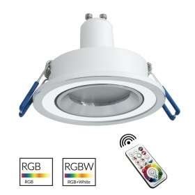 Downlight modern recessed round 7cm with two-tone silver white colored light RGB GU10