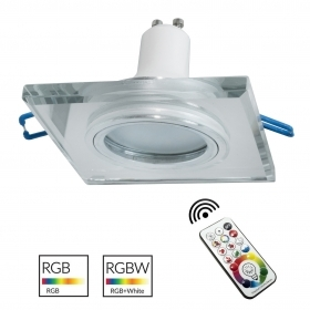 Downlight square glass mirrored built-6cm LED lamp coloured light GU10 RGB