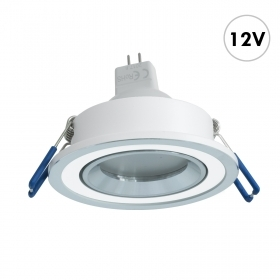 Spotlight LED recessed round white silver lamp 7W GU5.3 12V lights in the living room boat