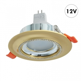 Faretto tondo incasso 75mm dorato brillantini lampada LED MR16 7W GU5.3 resa 70W