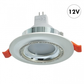 Spotlight recessed boat 75mm round 12V silver crystal LED lamp MR16 7W GU5.3