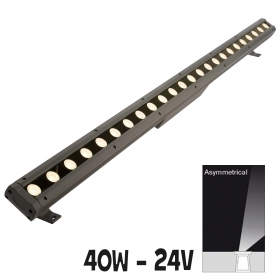 LED bar asymmetric 100cm 40W lights, facades, fountains, garden trees 24V IP65