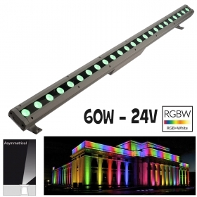 LED light bar 60W RGB 3000K light colored facades, garden IP65 24V 100cm