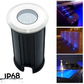 10 x Spotlights avenue garden swimming pool led blue IP68 segnapassi stomping ground 12v power supply