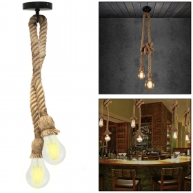 Pendant double rope LED lamp E27 20W vintage decorative light pub bar 230V