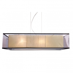 Chandelier rectangular fabric LED 72W 4 lamps E27 table kitchen living room 230V
