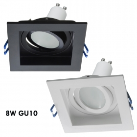 LED spotlight 8W adjustable recessed 90mm square light ceiling lamp GU10 230V