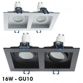 Recessed rectangular twin LED lamp GU10 16W led ceiling lighting 230V