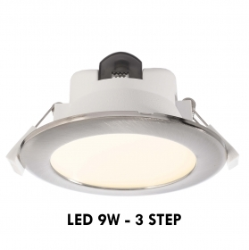 Spotlight recessed round-3-in-1 LED 9W 3 step light, ceiling, office, hallway 230V