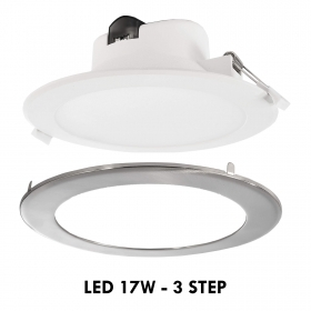 Spotlight 3-step LED panel recessed 14cm round 17W light ceiling office 230V