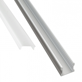 Profile aluminium 2m U HIGH surfaces, flat strips, LED rigid bar cover opaque