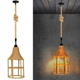 Chandelier pendant E27 cage rope LED 12W led decorative light tavern pub vintage
