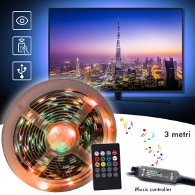 3MT IP55 USB TV Backlight Music Controller RGB Light LED Strip