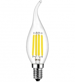Led bulb, transparent glass in the flame, gust of wind, E14 4w output power 40w 350Lm