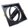 Double adjustable ring square spotlight holder for AR111 160mm recessed lamps
